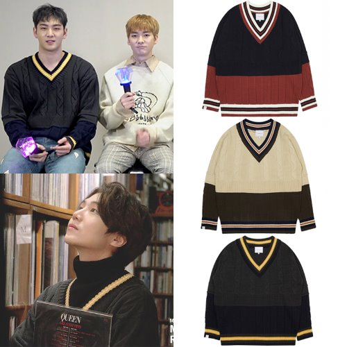 [URBANDTYPE]KN037_V Neck Color block Sweater 3COLOR_NU'EST/PENTAGON