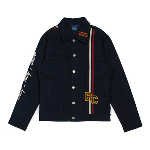 [ROMANTIC CROWN] RC DOUBLE LINE TRUCKER JACKET NAVY