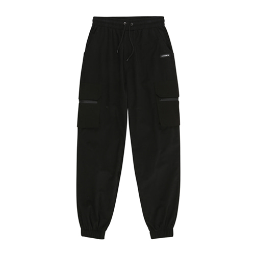 [13MONTH] LEG BELTED CARGO JOGGER PANTS BLACK