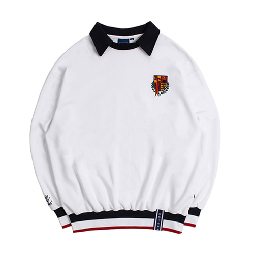 [3/20予約配送][ROMANTIC CROWN] E.D.V COLLAR CREWNECK WHITE