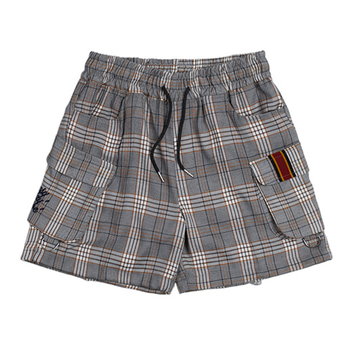 [ROMANTIC CROWN] E.D.V SHORT CHECK PANTS BLACK
