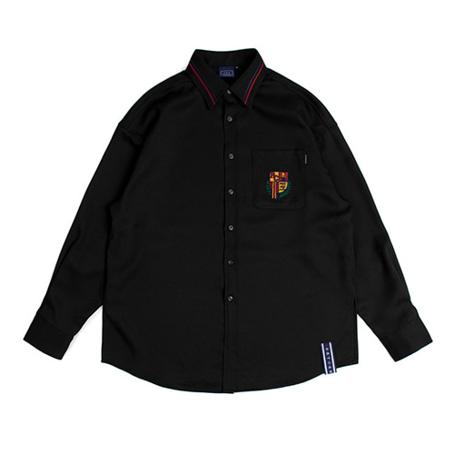 [ROMANTIC CROWN] RMTCW COLLAR PIPING SHIRT BLACK