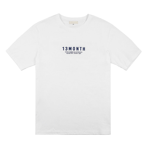 [13MONTH] BLUE LOGO HALF SLEEVE T-SHIRT WHITE