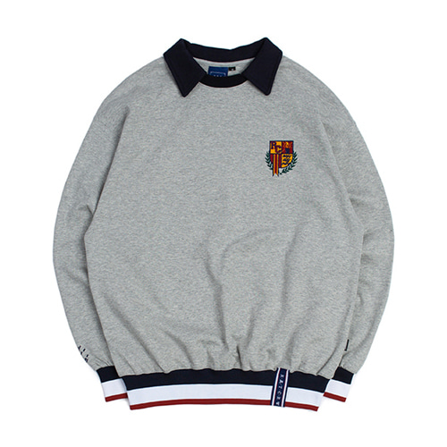 [3/20予約配送][ROMANTIC CROWN] E.D.V COLLAR CREWNECK GREY