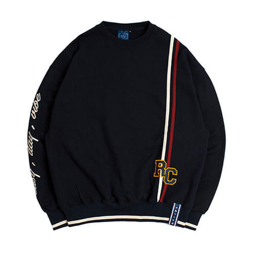 [ROMANTICCROWN] RC DOUBLE LINE SWEATSHIRT NAVY