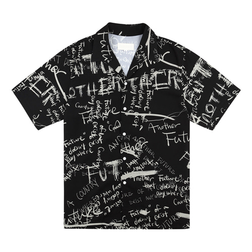 [13MONTH] GRAFFITI HALF SLEEVE SHIRT BLACK