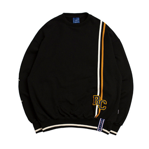 [ROMANTICCROWN] RC DOUBLE LINE SWEATSHIRT BLACK