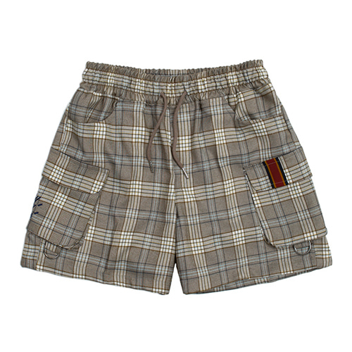 [ROMANTIC CROWN] E.D.V SHORT CHECK PANTS GREY