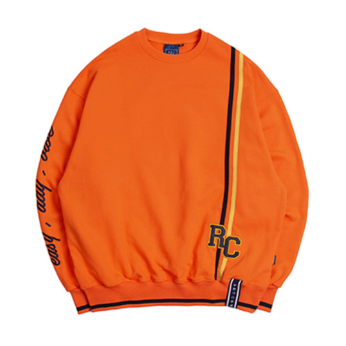 [ROMANTICCROWN] RC DOUBLE LINE SWEATSHIRT ORANGE