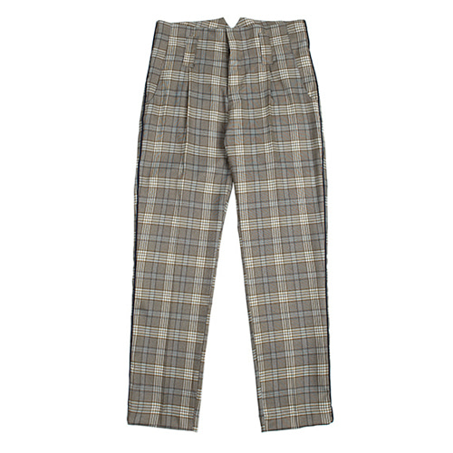 [ROMANTIC CROWN] CLASSIC NEWSBOY CHECK PANTS GREY