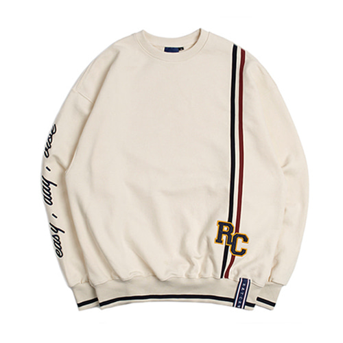 [ROMANTICCROWN] RC DOUBLE LINE SWEATSHIRT OATMEAL