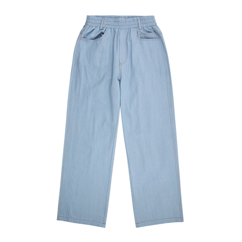 [13MONTH] DENIM WIDE BANDING PANTS LIGHT BLUE