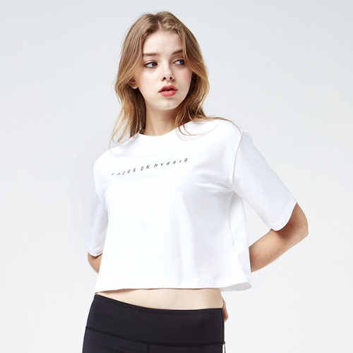 [AKIIICLASSIC]LOOSE FIT CROP T-SHIRT WHITE