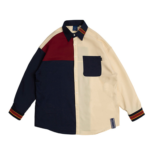 [ROMANTIC CROWN] COLOR BLOCK SHIRT NAVY