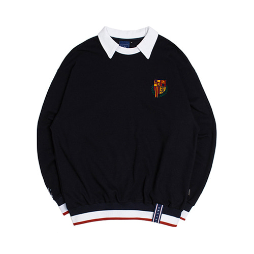 [3/20予約配送][ROMANTIC CROWN] E.D.V COLLAR CREWNECK NAVY