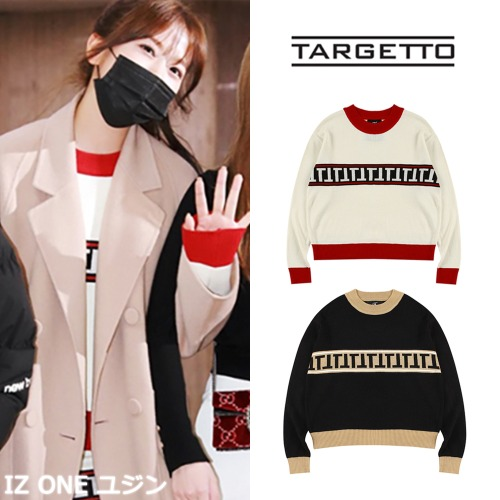 [TARGETTO] STRIPE LOGO KNIT 2COLOR_IZ ONE