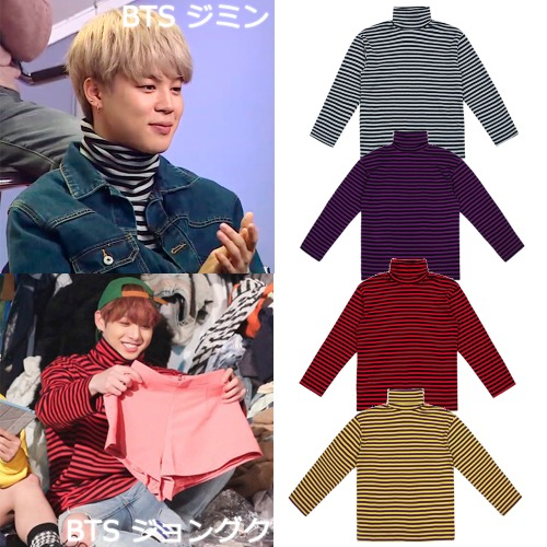 [CLIF] TURTLE NECK STRIPE TEE 4COLOR_BTS SEVENTEEN GOT7