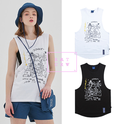 [ROMANTICCROWN][R.C X M.G] CITY FRIENDS SLEEVELESS 2COLOR