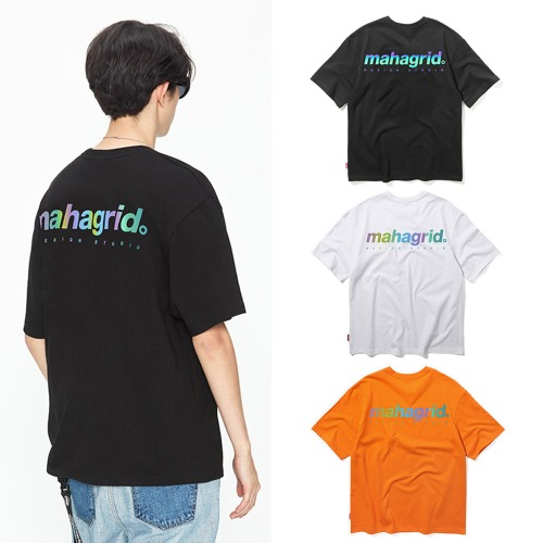 [MAHAGRID] RAINBOW REFLECTOR BACK LOGO TEE 3COLOR