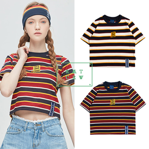 [ROMANTICCROWN WOMAN] GNAC STRIPED CROP T SHIRT 2COLOR