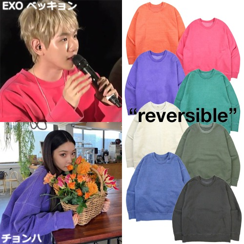 [ATTENTIONROW] LOCO PIGMENT REVERSIBLE HEAVY SWEATSHIRT 8COLOR_EXO CHUNGHA