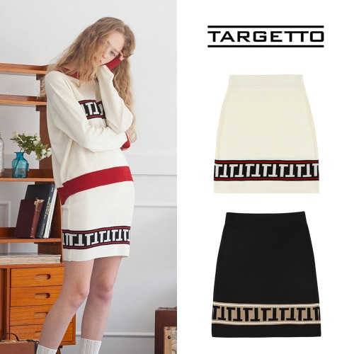 [TARGETTO] STRIPE LOGO SKIRT 2COLOR