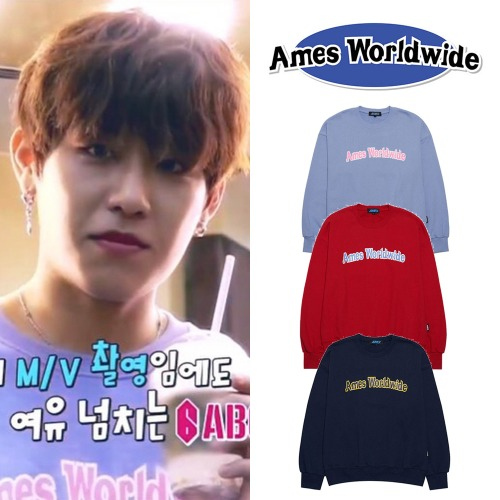 [AMES-WORLDWIDE] BUBBLE LOGO SWEATSHIRTS 3COLOR_AB6IX
