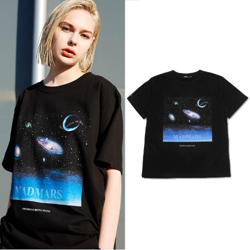 [MADMARS] SPACE PAINTING T-SHIRTS BLACK
