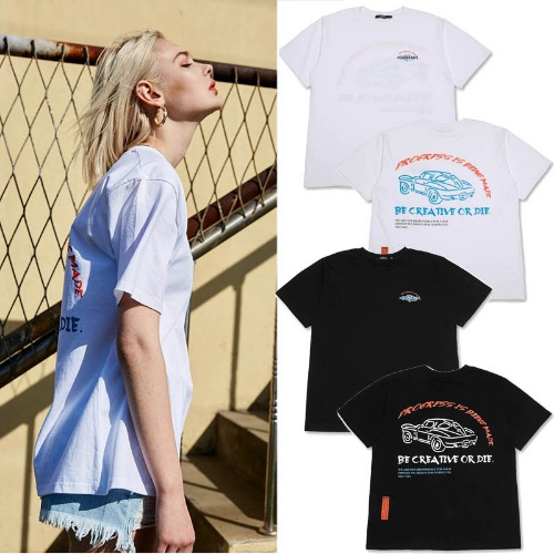 [MADMARS] CAR SLOGAN T-SHIRTS 2COLOR