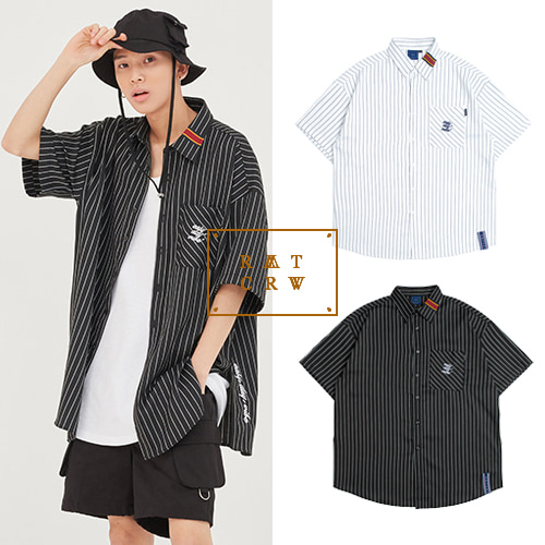 [ROMANTICCROWN] E.D.V STRIPE HALF SHIRT 2COLOR