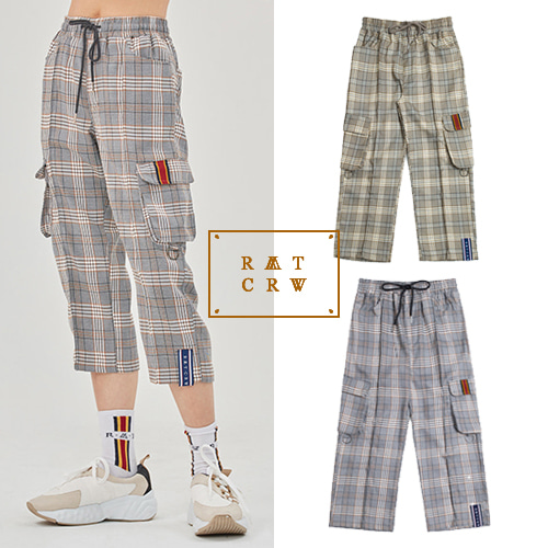 [ROMANTICCROWN] CHECK POCKET ANKLE PANTS 2COLOR