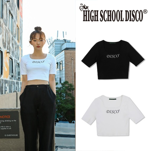 [HIGHSCHOOLDISCO] DISCO SQUARE CROP T SHIRT 2COLOR