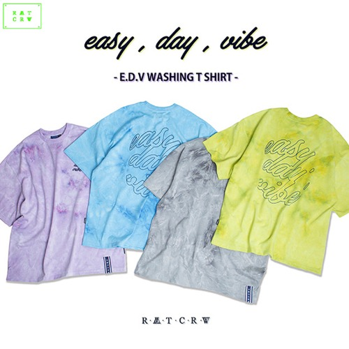 [ROMANTICCROWN] E.D.V WASHING T SHIRT 4COLOR