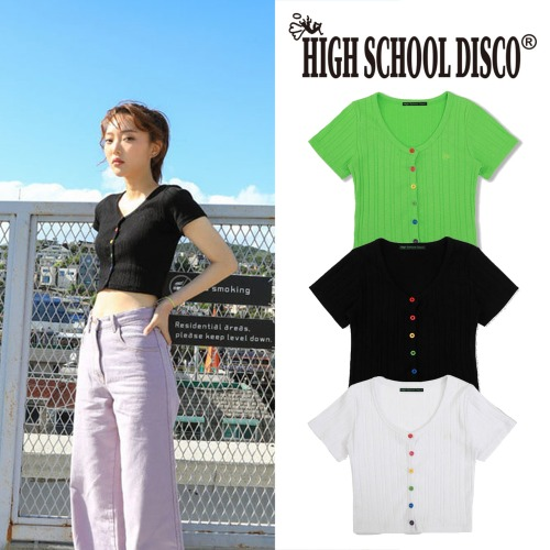 [HIGHSCHOOLDISCO] RAINBOW CROP CARDIGAN 3COLOR