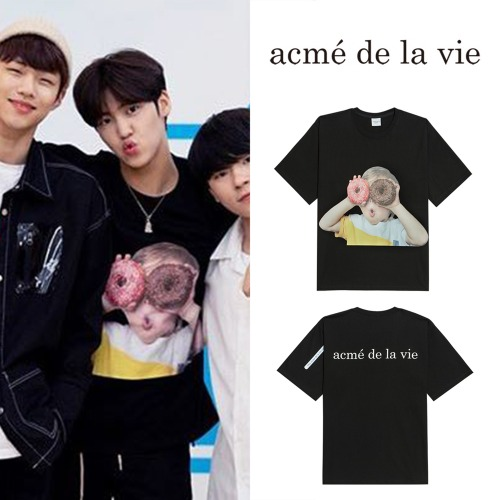 [ACME DE LA VIE] ADLV BABY FACE SHORT SLEEVE T-SHIRT BLACK DONUTS