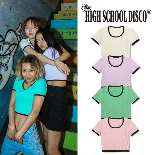 [HIGHSCHOOLDISCO] TAPING CROP T SHIRT 4COLOR