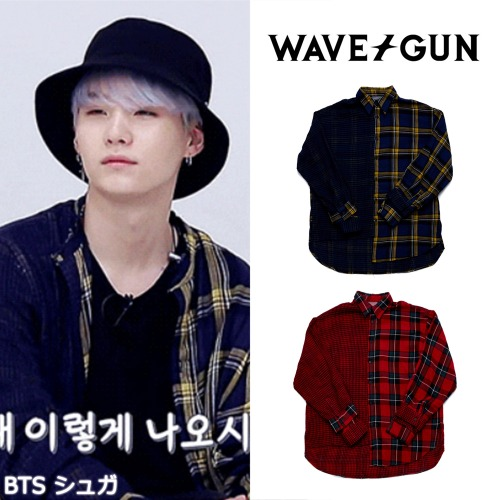 [WAVEGUN] NEWTRO OVER FIT CHECK SHIRT 2COLOR_BTS