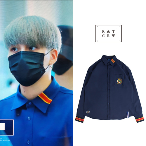 [ROMANTICCROWN] STRIPE CUFFS SHIRT NAVY_ATEEZ