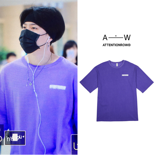 [ATTENTIONROW] VIBERATE VINTAGE PIGMENT OVERFIT T SHIRT PURPLE