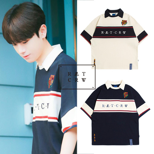 [ROMANTICCROWN] CROSS LINE HALF POLO SHIRT 2COLOR_PRODUCE X 101