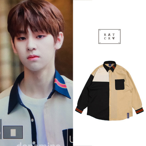 [ROMANTICCROWN] COLOR BLOCK SHIRT BLACK_PRODUCE X 101