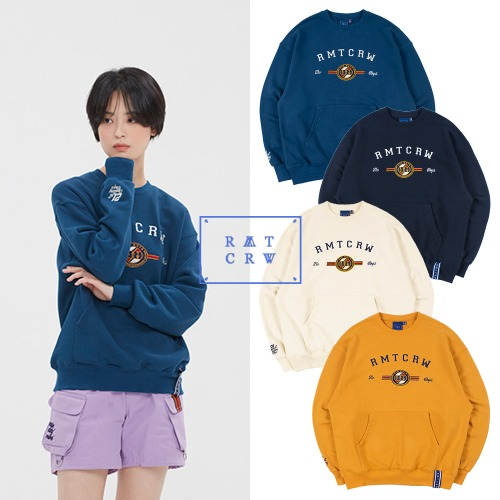 [ROMANTICCROWN] RMTCRW LOGO POCKET SWEATSHIRT 4COLOR