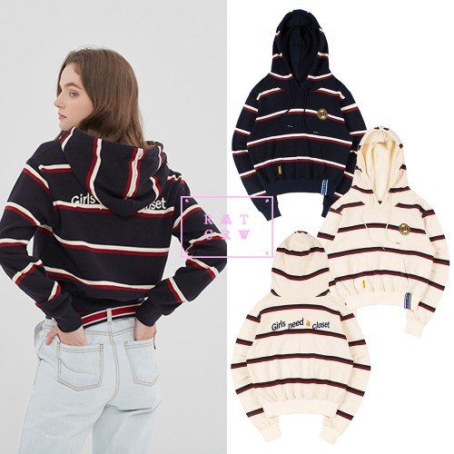 [ROMANTICCROWN WOMAN]GNAC STRIPE HOOD 2COLOR