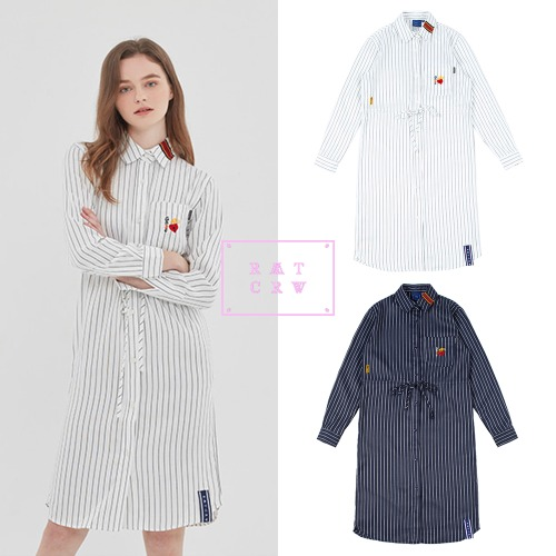 [ROMANTICCROWNWOMAN] GNAC STRIPE SHIRT DRESS 2COLOR
