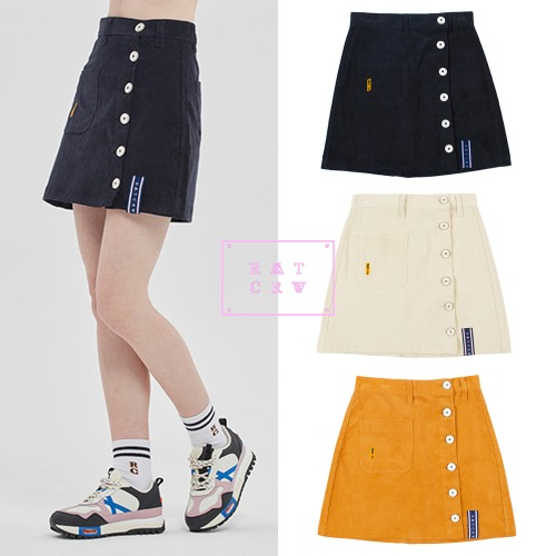 [ROMANTICCROWN WOMAN] CORDUROY POCKET SKIRT 3COLOR