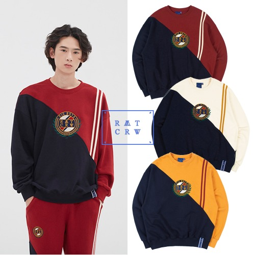 [ROMANTICCROWN] COLOR BLOCK LOGO SWEATSHIRT 3COLOR