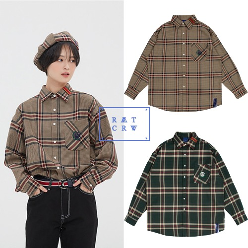 [ROMANTICCROWN] OLD CHECK WIDE SHIRT 2COLOR