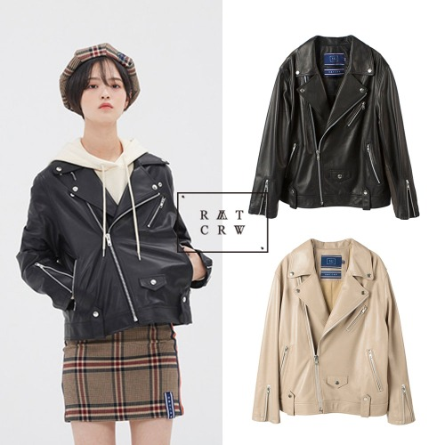[ROMANTICCROWN] WIDE LEATHER RIDER JACKET 2COLOR