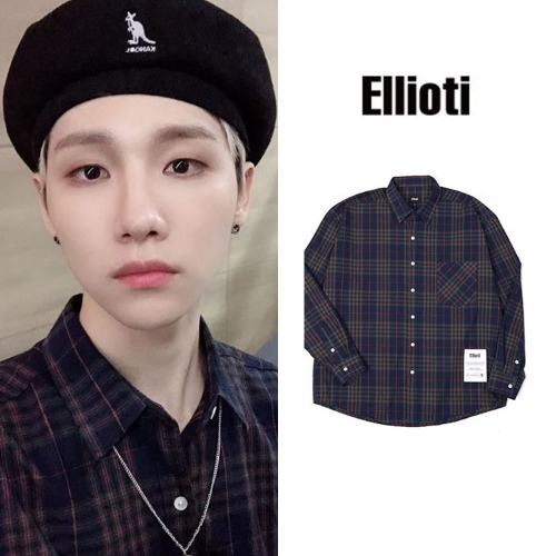 [ELLIOTI] OVERFIT CHECK SHIRTS NAVY_AB6IX