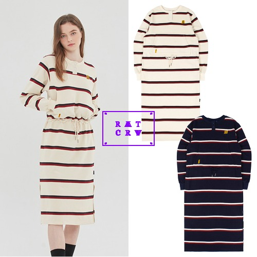 [ROMANTICCROWNWOMAN] GNAC STRIPE POCKET DRESS 2COLOR